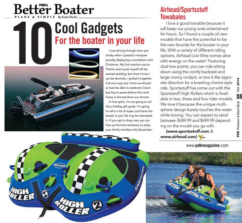 PDB Magazine's 10 Cool Gadgets for the boater in your life features new Airhead and Sportsstuff Products
