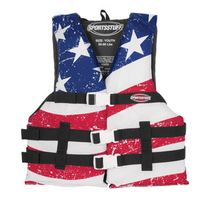 Airhead-General Boating Child-Adult Universal PFD, Stars & Stripes-Youth