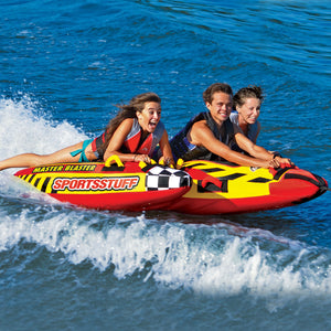Master Blaster - new inflatable tow tube for 3 people to ride laying down