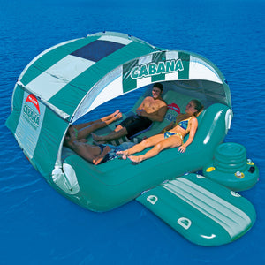 Cabana Islander - 6 person inflatable party island with huge canopy and floating cooler