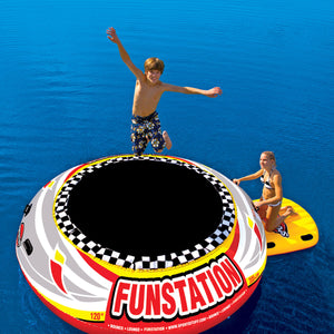Funstation Bouncer 10' - 1 person inflatable PVC trampoline bouncer for lakes