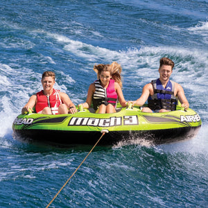 Mach 3 - 3 person inflatable towable cockpit tube with inflatable floor and comfortable handles