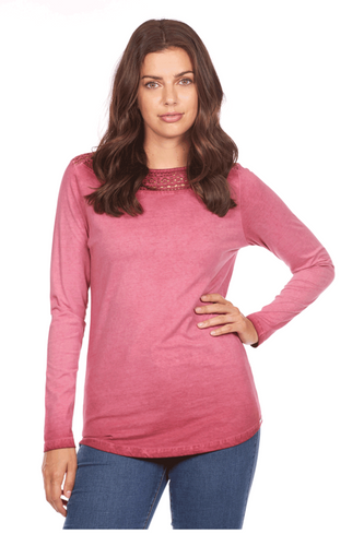 Pretty wash long sleeve top in Rose