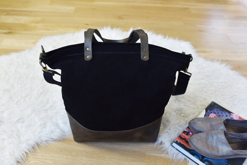 Black Boyfriend Canvas Tote bag-Kiko Leather