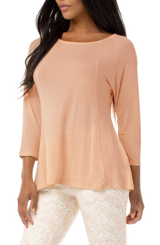 3/4 Sleeve Scoop Neck Top with Panels