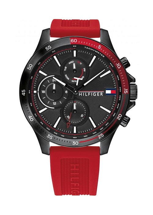 TOMMY HILFIGER 1791722 MENS RED SILICONE STRAP WATCH