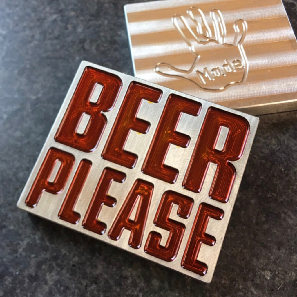 Handmade BEER PLEASE Ball Marker - STOCK STAINLESS - ORANGE
