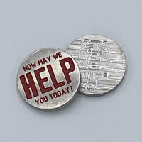 "Handmade TED ""HOW MAY WE HELP YOU TODAY"" Ball Marker"