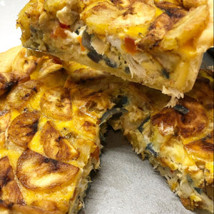 WHOLE SALTFISH & PLANTAIN QUICHE