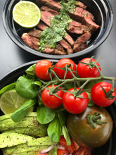 Load image into Gallery viewer, RIBEYE STEAK WITH BASIL CHIMICHURRI SAUCE + TOMATO SALAD