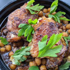GRILLED CHICKEN THIGHS & CHICKPEA/ VEGETABLE STEW