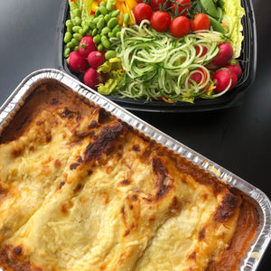 FAMILY WHOLE VEGETABLE LASAGNA WITH SALAD (Serves 4, £16.00 per head)