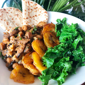 CHICKPEA, MUSHROOM & CAULIFLOWER CURRY WITH RICE, PLANTAIN & KALE