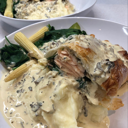 SALMON IN PUFF PASTRY WITH A CREAMY MUSHROOM SAUCE