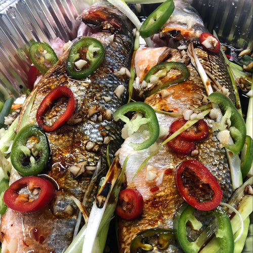SWEET CHILLI, GARLIC AND SOY WHOLE SEA BASS
