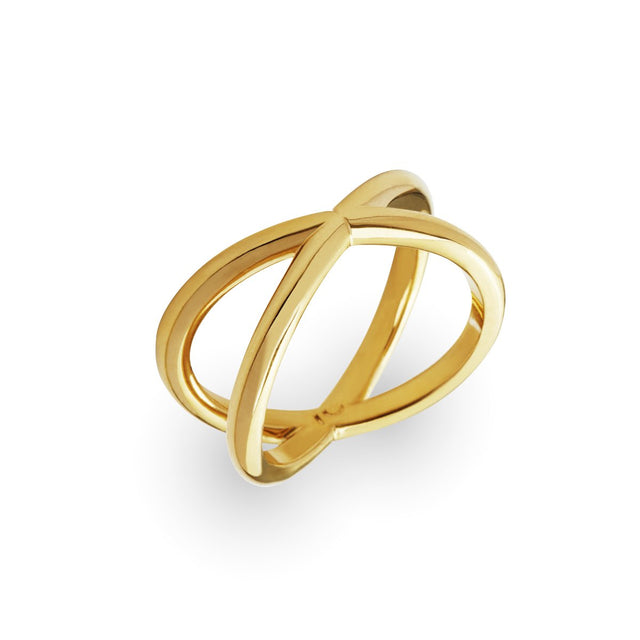 "The Essential Forms ""X"" Gold Plated Ring"