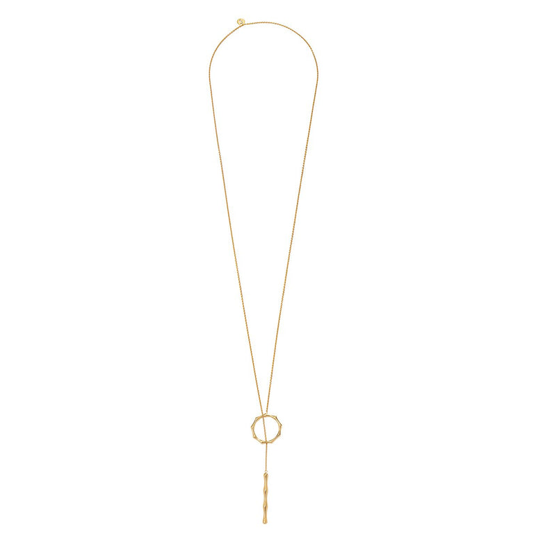 The Essential Bamboo Drop Gold Plated Necklace