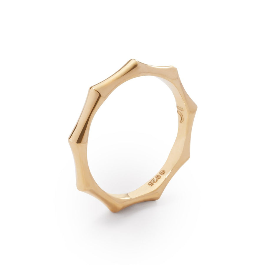 The Essential Bamboo Slim 18K Gold Plated Silver 925° Ring
