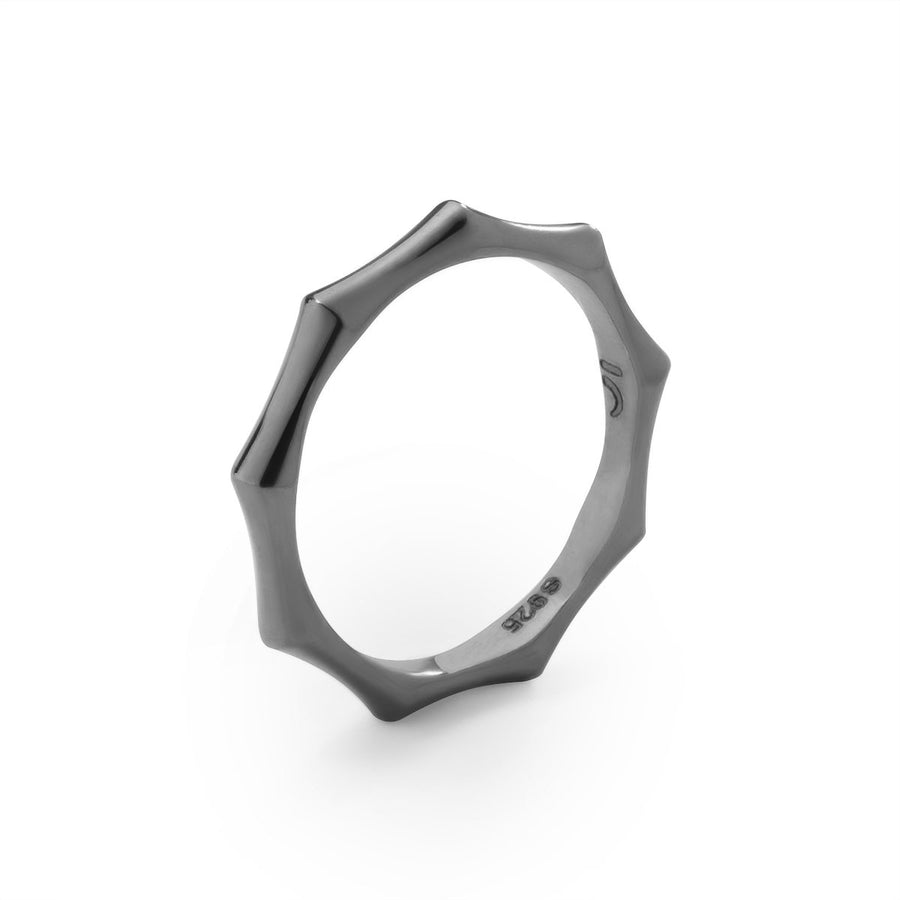 The Essential Bamboo Slim Black Rhodium Plated Silver 925° Ring