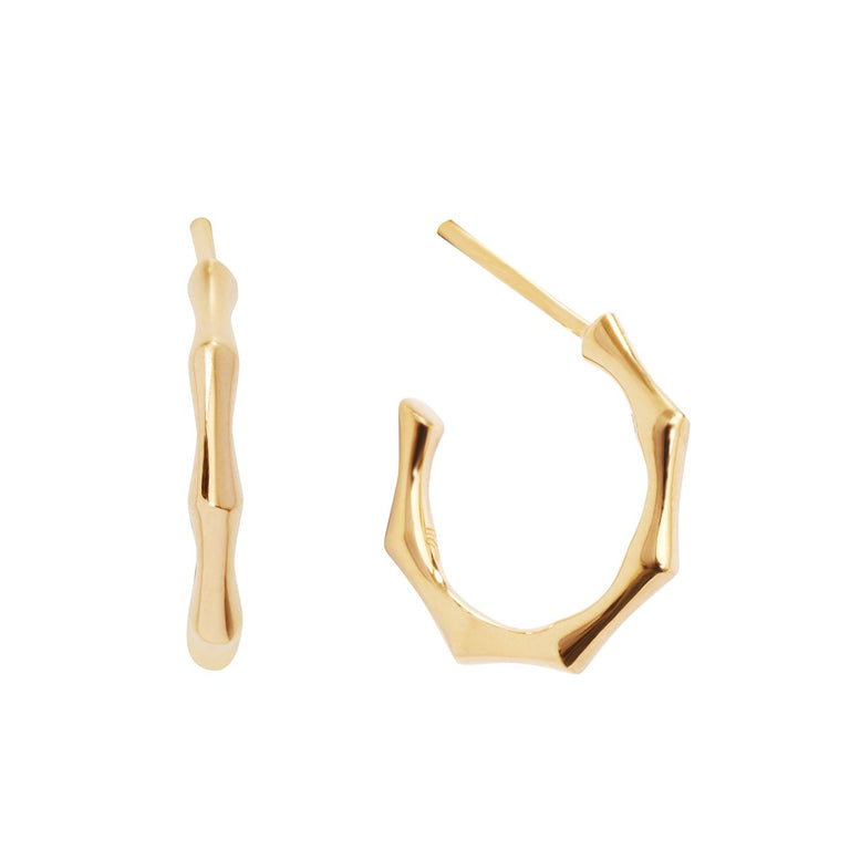 The Essential Bamboo Gold Plated Small Hoops