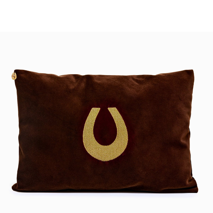 Brown velvet pillow with lucky horseshoe embroidery