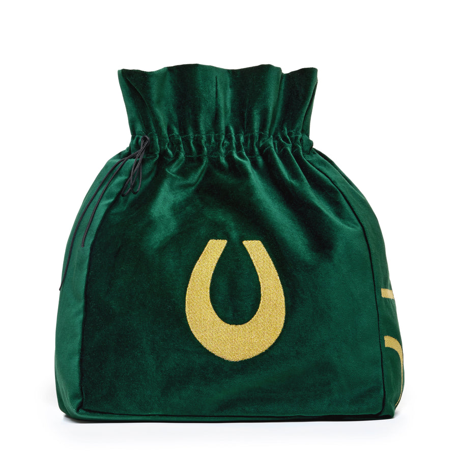 Large green velvet pouch with lucky horseshoe embroidery