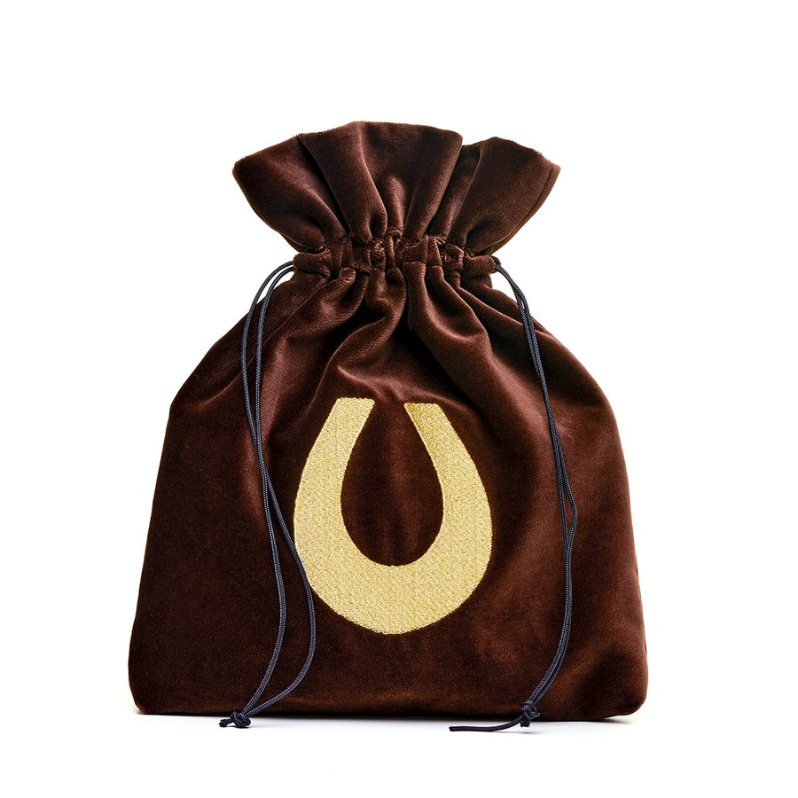 Medium brown velvet pouch with lucky horseshoe embroidery