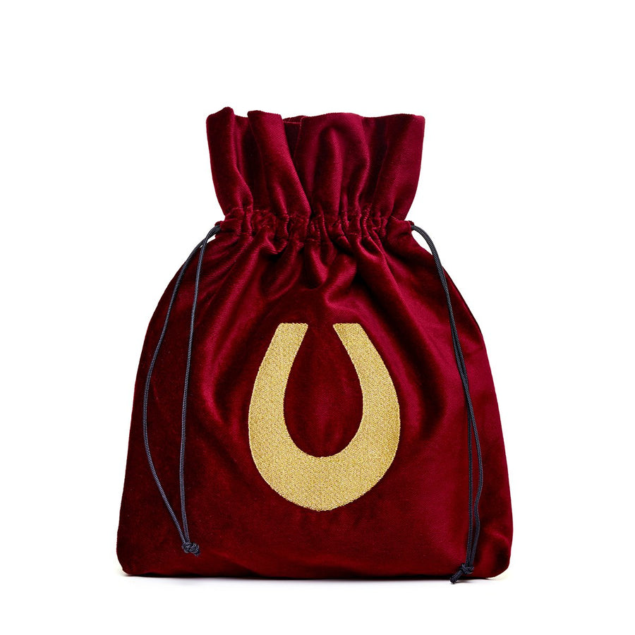 Medium red velvet pouch with lucky horseshoe embroidery