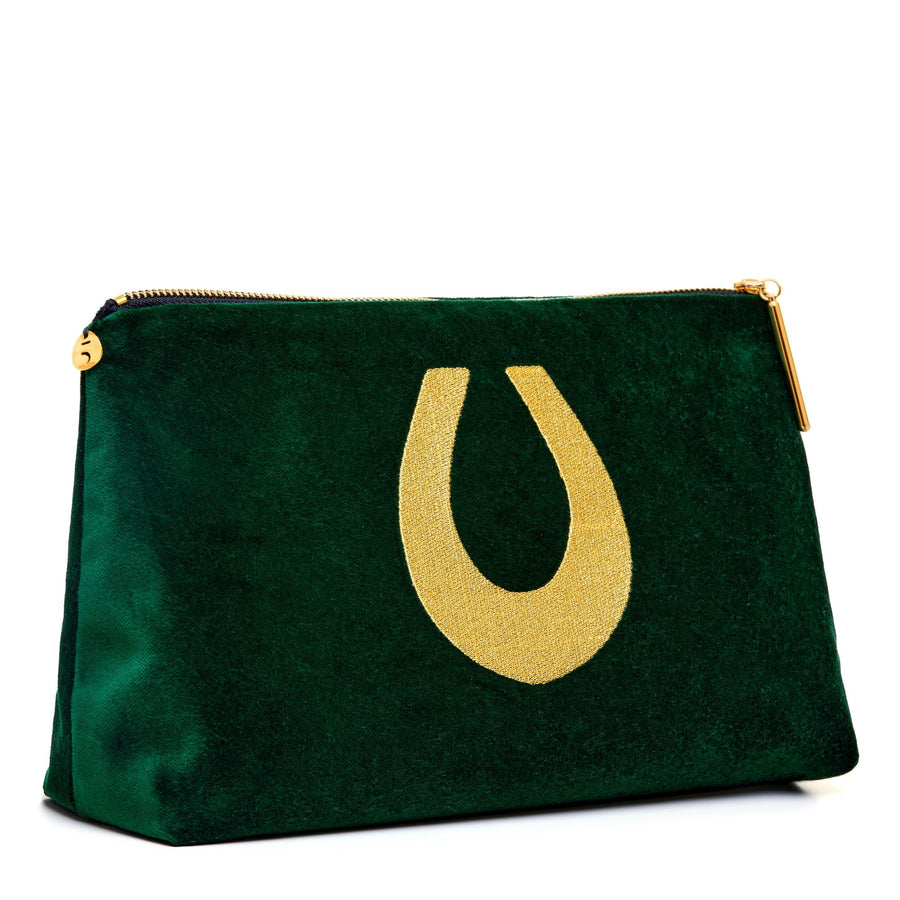 Large green velvet Nécessaire with lucky horseshoe embroidery