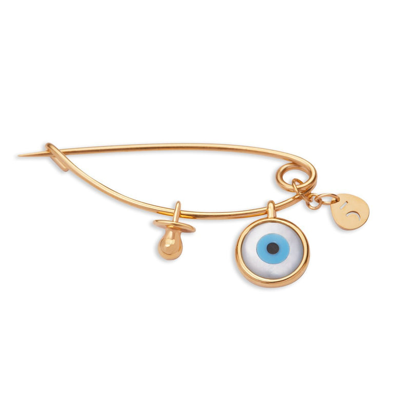 The Newborn Evil Eye & Pacifier Gold Plated Pin