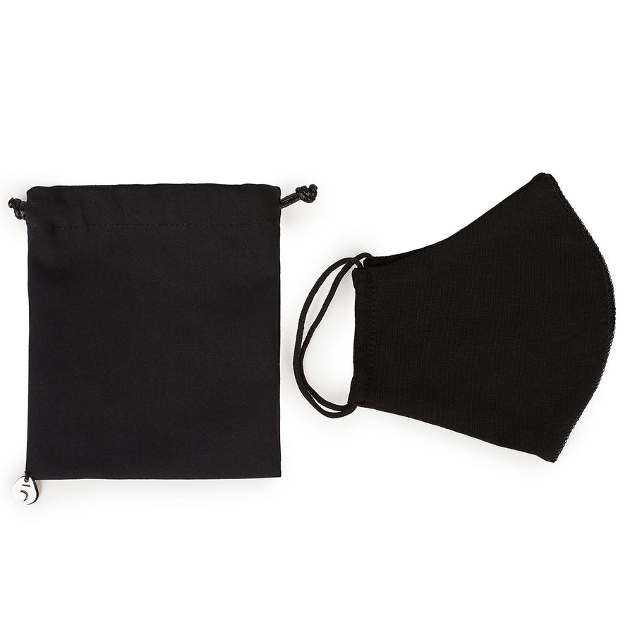 Set of pouch & face mask in black