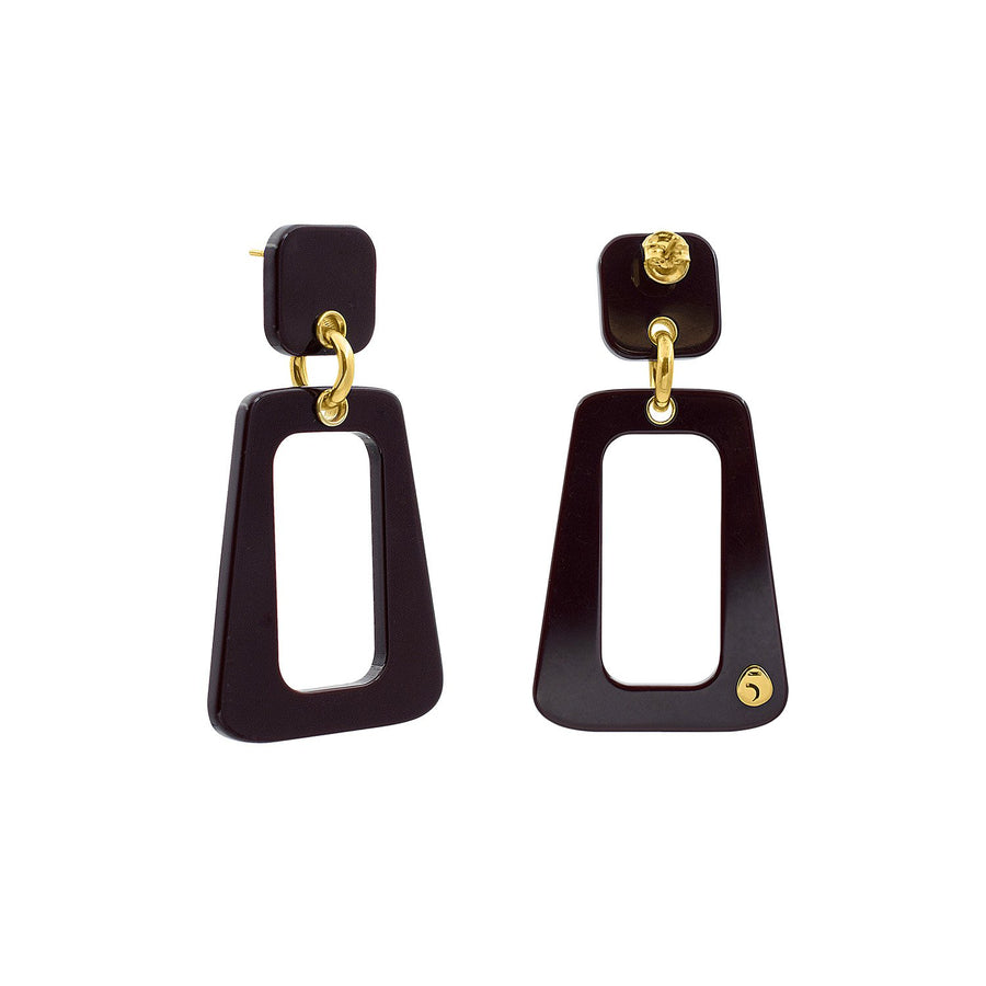 The Eclectic Trapezoid Outline Black Earrings