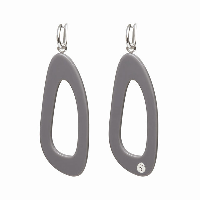 The Eclectic Outline Long Grey Earrings