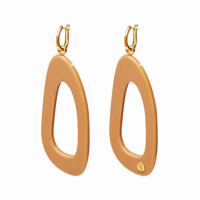 The Eclectic Outline Long Camel Earrings