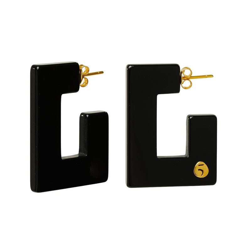 "The Eclectic ""G"" Black Earrings"