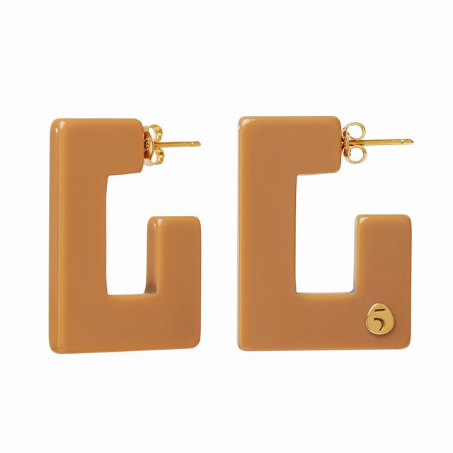 "The Eclectic ""G"" Camel Earrings"