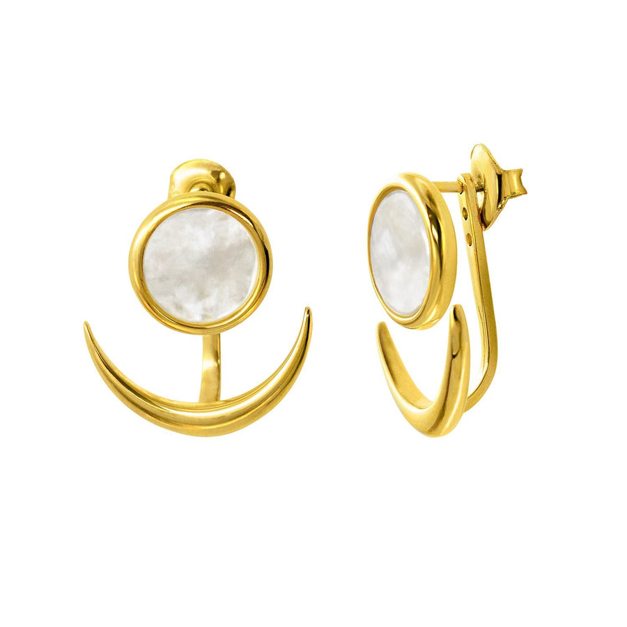 The Enriched Selene Crescent Jacket 18K Gold Plated Silver 925° Earrings