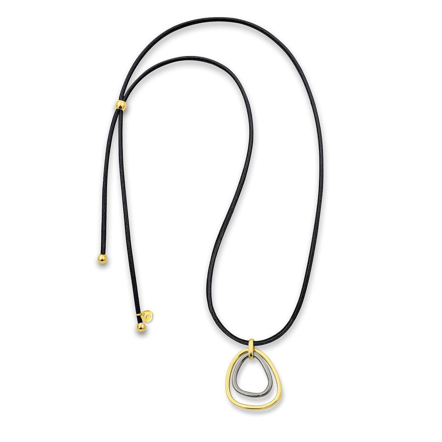 The Essential Double Triangle Gold & Black Rhodium Silver Plated925° Necklace