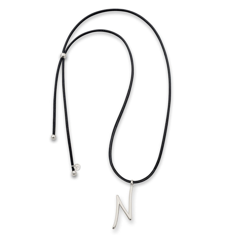 "THE EKFRASIS ""n"" INITIAL SILVER NECKLACE"