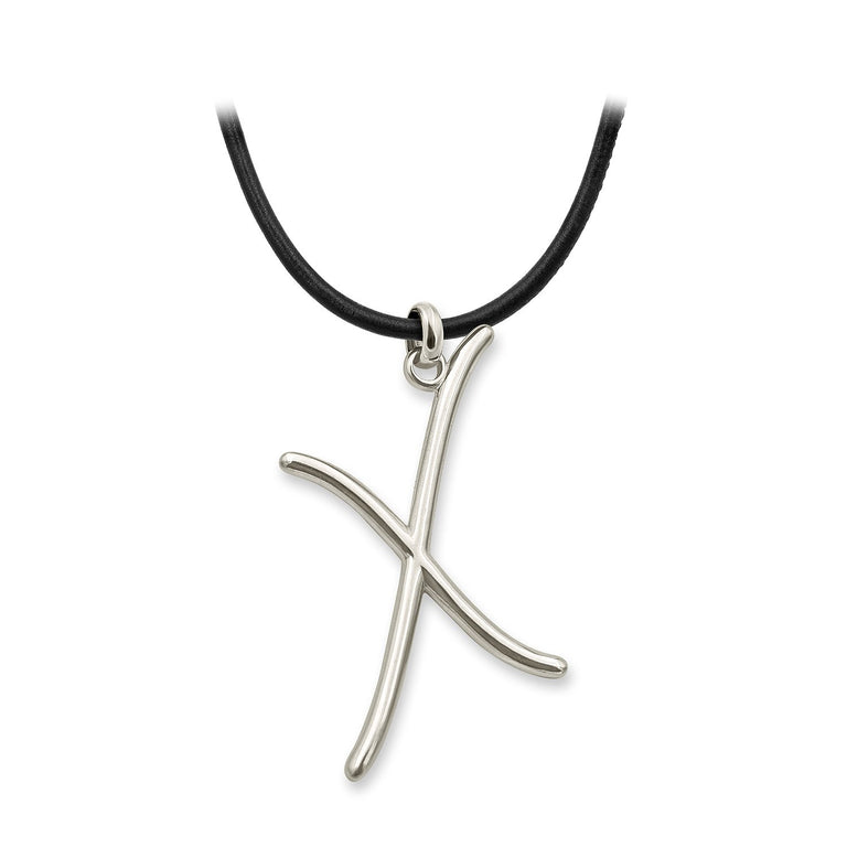"THE EKFRASIS ""x"" INITIAL SILVER NECKLACE"