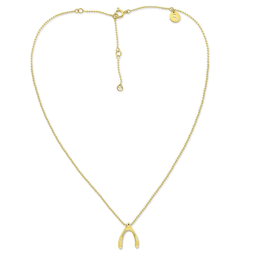The Everlucky Charm Wishbone 18K Gold Plated Silver 925° Necklace