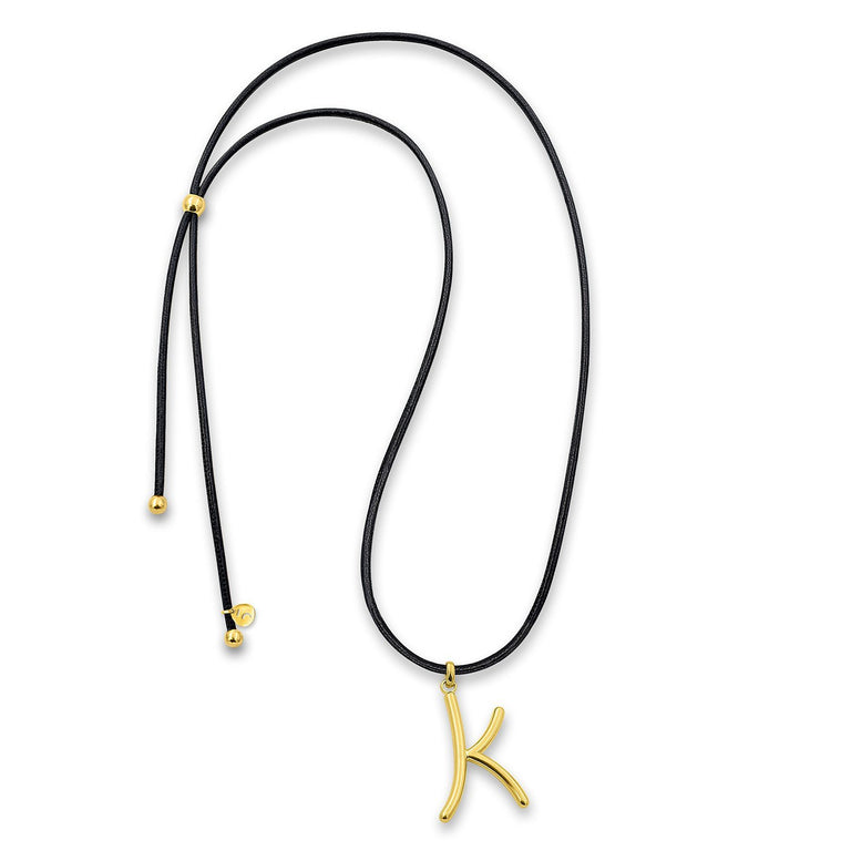 "THE EKFRASIS ""k"" INITIAL GOLD PLATED NECKLACE"