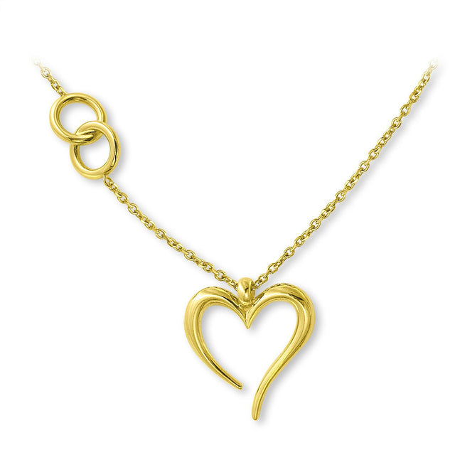THE LOVE'S A-ROUND HEART GOLD PLATED NECKLACE