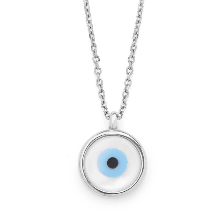 The Everlucky Round Evil Eye Silver Necklace