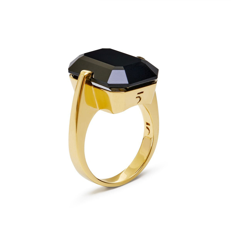 The Enriched Black Crystal Rectangle 18K Gold Plated Silver 925° Ring