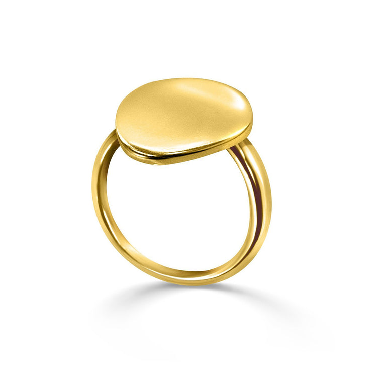 THE ESSENTIAL COIN GOLD PLATED CHEVALIER RING