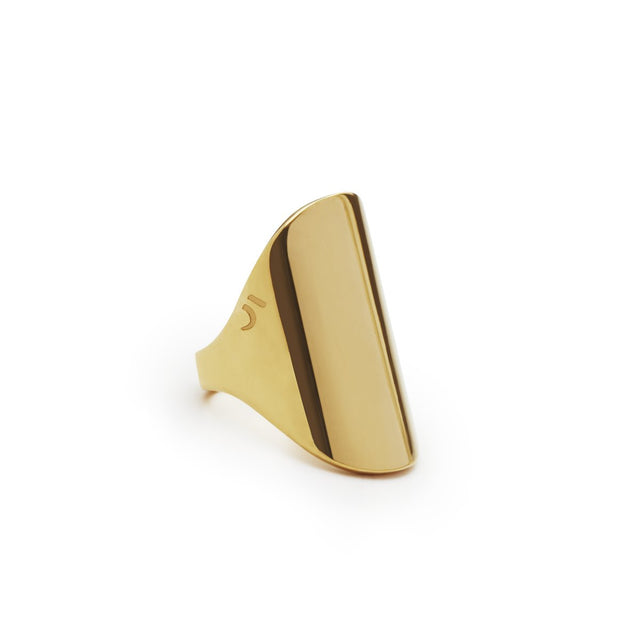 The Essential Forms Large Oval Gold Plated Ring