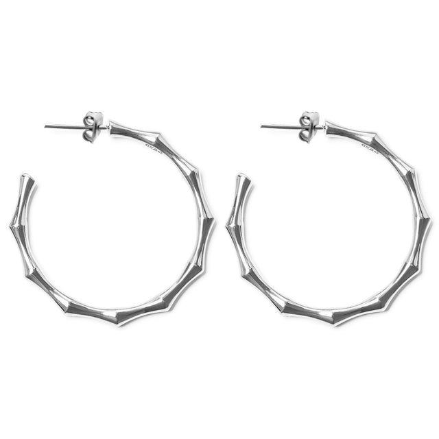 The Essential Bamboo Silver Hoops