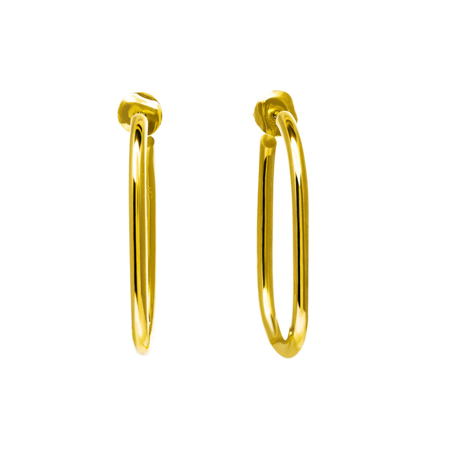 The Essential Forms Large Oval 18K Gold Plated Silver 925° Earrings