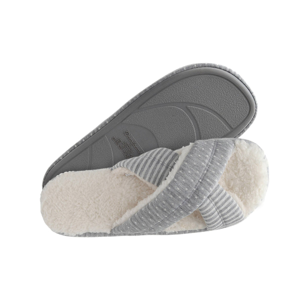Dearfoams Women's Beatrice Microfiber Terry Slide with Quilted Vamp Slipper